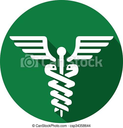 caduceus medical symbol flat icon  - csp34358644