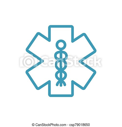 caduceus medical symbol line icon - csp79018650