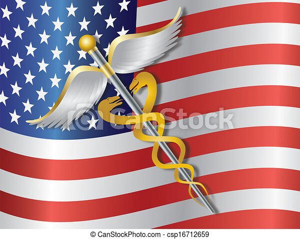 Caduceus Medical Symbol with USA Flag Background Illustration - csp16712659