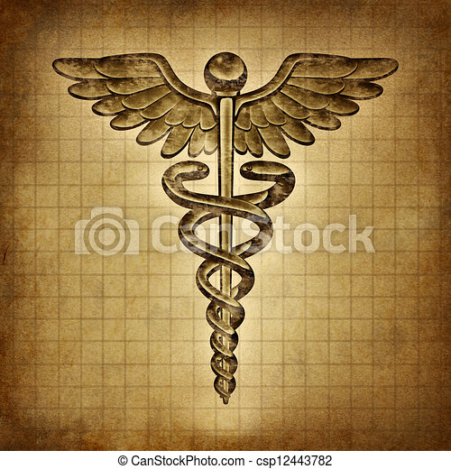 Caduceus on an old grunge parchment document as a vintage medical symbol and health care and medicine icon with snakes crawling on a pole with wings as a pharmacy medicine concept. - csp12443782