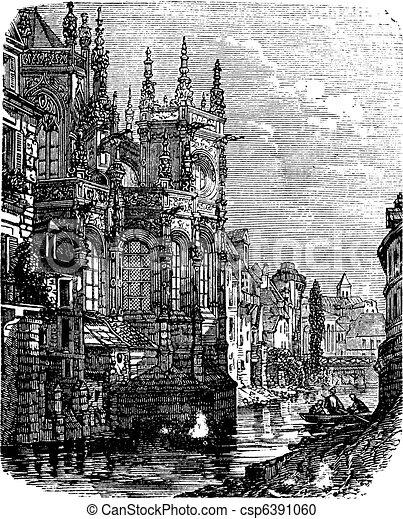 caen, rocznik wina, saint-pierre, francja, kościół, normandy, engraving. - csp6391060