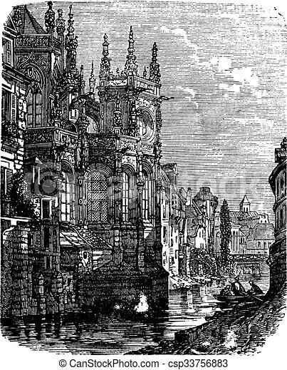 caen, rocznik wina, saint-pierre, francja, kościół, normandy, engraving. - csp33756883