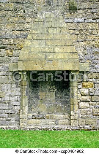 Caernarfon Castle Fireplace in North Wales - csp0464902