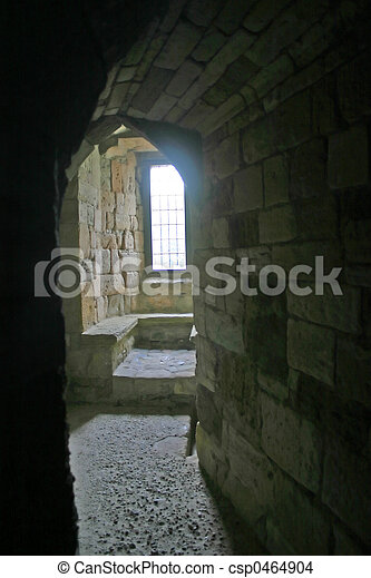 Caernarfon Castle Window in North Wales - csp0464904