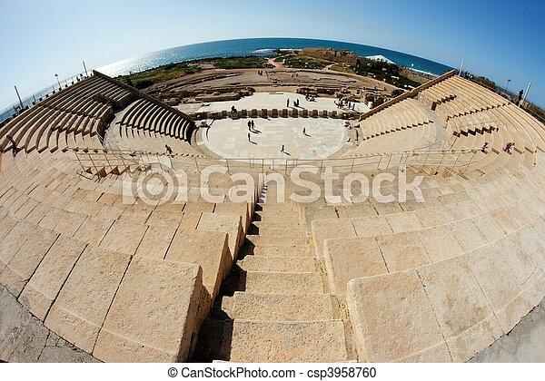 Caesarea amphitheater fisheye view - csp3958760