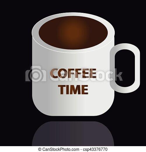 café, arrière-plan noir, tasse - csp43376770