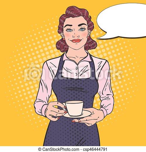 Camarera con taza de café en el café. - csp46444791