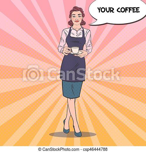 Una camarera guapa con una taza de café en el café. Ilustración de vectores retro Pop Art - csp46444788