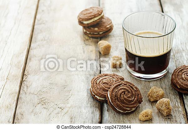 café, biscoitos, sable, chocolate - csp24728844