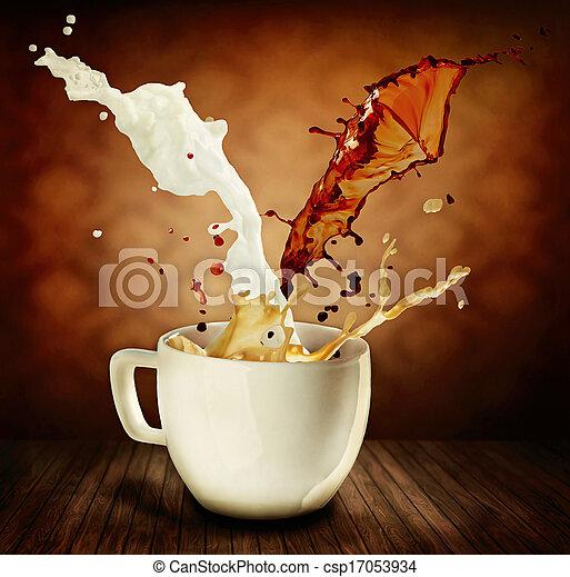 café, cappuccino, tasse, lait, splashing., latte, ou - csp17053934