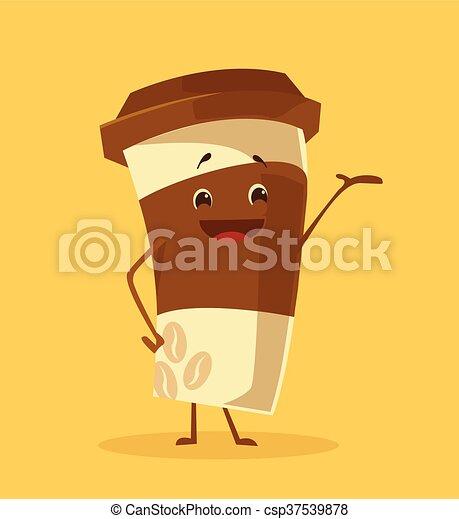 café, caricatura, copo - csp37539878