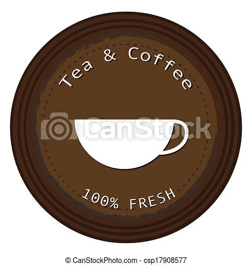 café chá, fresco, etiqueta - csp17908577