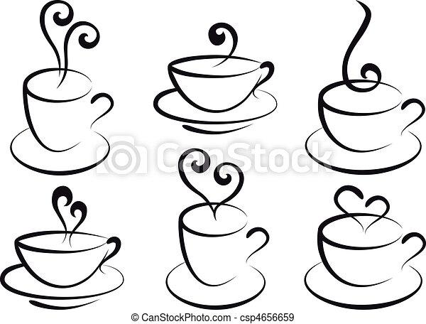 café chá, vetorial, copos - csp4656659