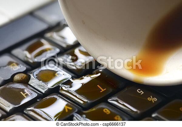 café, clavier ordinateur - csp6666137