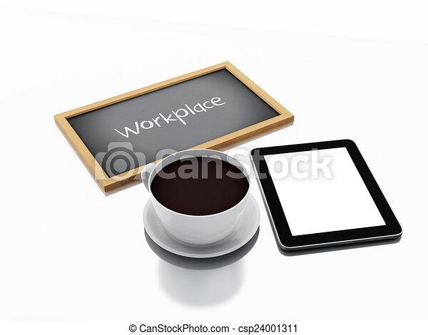 café, concept, tablette, tasse, pc., lieu travail, tableau, 3d - csp24001311