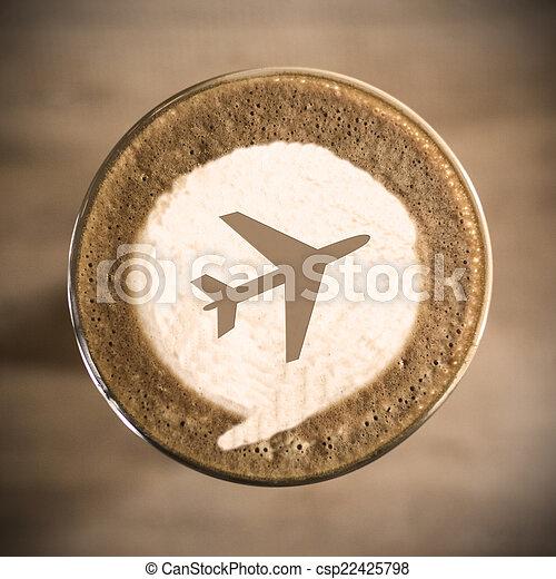 café, concepto, arte, viaje, mañana, latte, diario - csp22425798