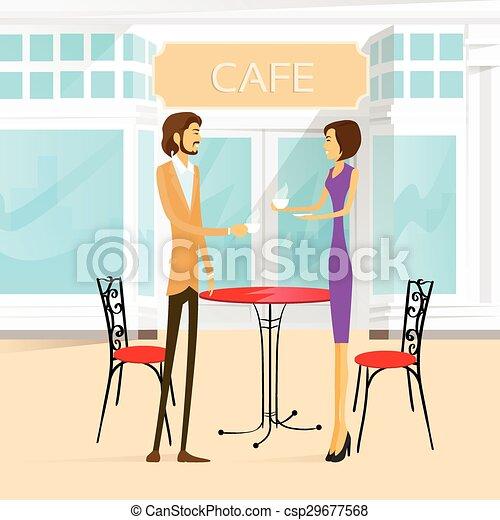 café, couple, rue, table, extérieur, boisson café - csp29677568