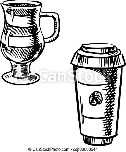 Café de salida, taza de papel. Tapa, café, café, taza, estilo, mocha ...