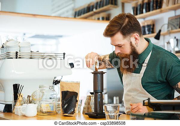café faisant, barista - csp33898508