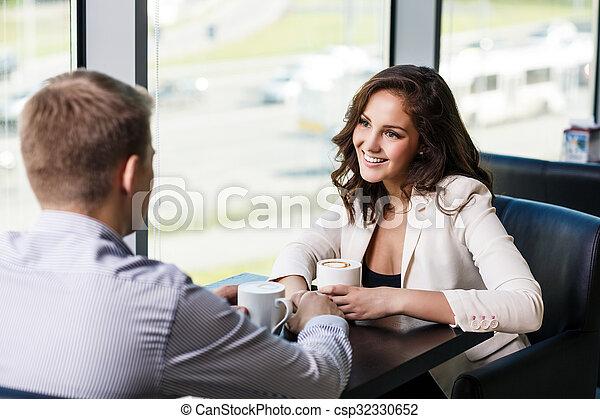 café, femme, café, avoir, homme - csp32330652