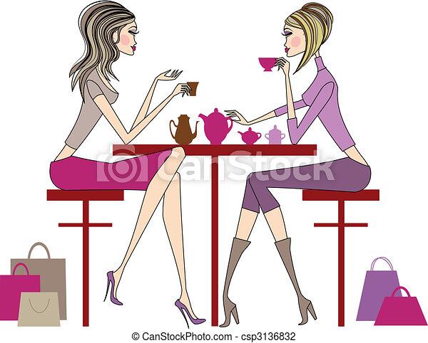 café, femmes, boire - csp3136832