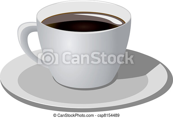 café, fond blanc, tasse - csp8154489