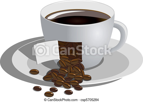 café, fond blanc, tasse - csp5705284