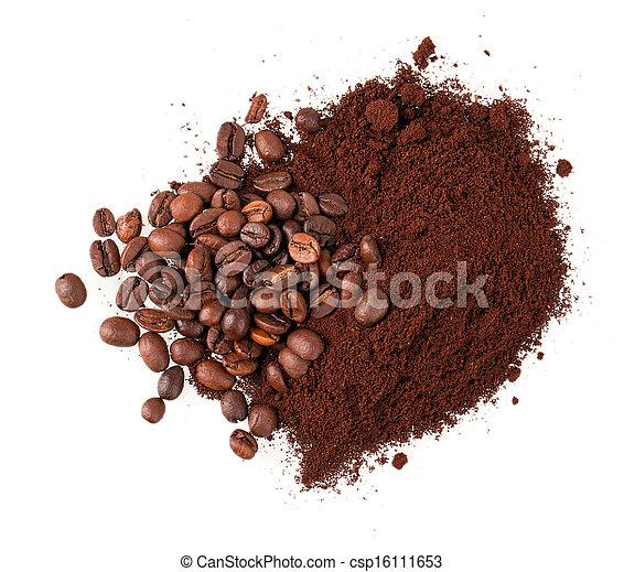 café, grão, chão - csp16111653