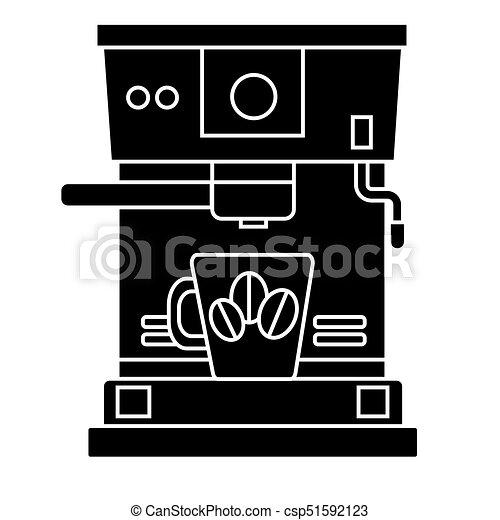café, illustration, tasse, isolé, signe, machine, vecteur, arrière-plan noir, icône - csp51592123