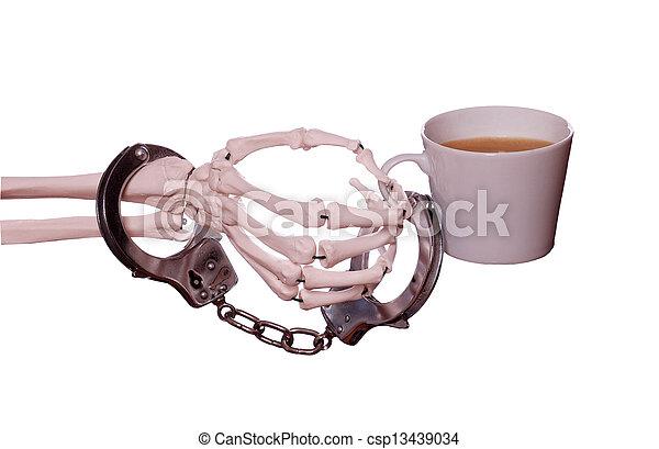 café, menotte, squelette, capturé, main - csp13439034