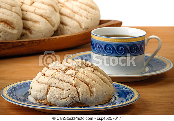 café, mexicano, conchas, copo, pão doce - csp45257617