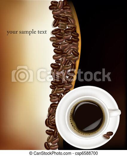 café noir, tasse, arrière-plan. - csp6588700