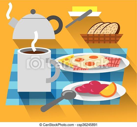 Café Oeufs Frits Petit Déjeuner