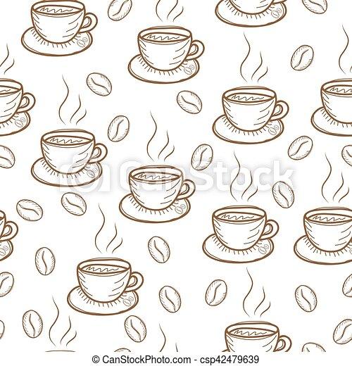 café, padrão, esboço, ilustração, mão, vetorial, desenho - csp42479639