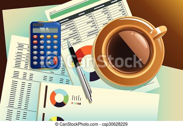 café, papel, topo, copo - csp30628229