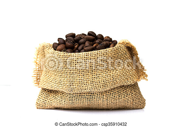 d9ee887a4 Café, Sacos De Burlap, Derramado, Fondo., Frijoles, Asado, Blanco, Encima