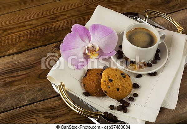 Café, servir, romantique, servi, plateau, orchidée. Café, servir ...