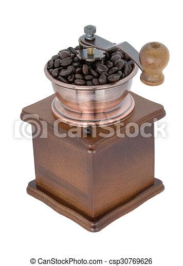 café, sobre, moedor, fundo branco - csp30769626