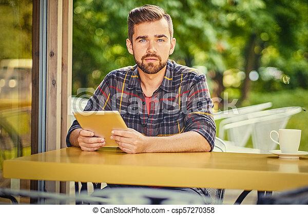 café, tablette, rue., homme, pc, utilisation - csp57270358