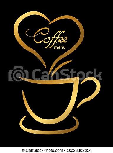 café, tasse or, illustration, fond, noir - csp23382854