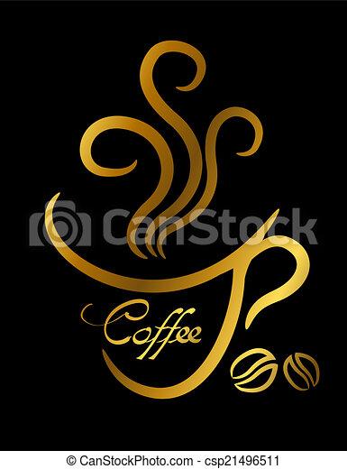 café, tasse or, illustration, fond, noir - csp21496511
