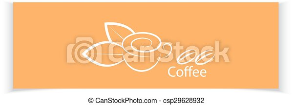 café, ton, bannières, design. - csp29628932