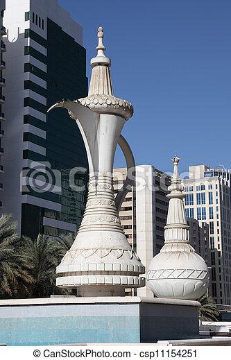 Monumento de café árabe en Abu Dhabi, emiratos árabes unidos - csp11154251