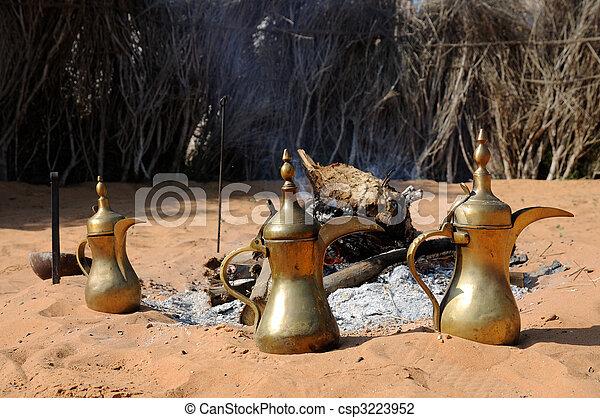 Lugar de fuego y cafeteras arabicas en abu dhabi, emiratos arabes unidos - csp3223952