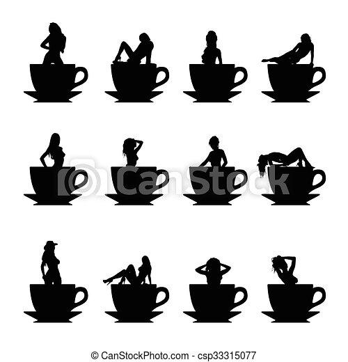 Chica vector silueta en taza de café - csp33315077