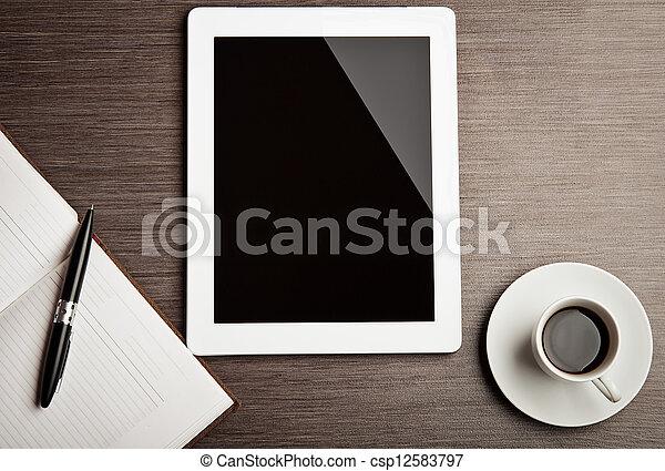 café, vide, tablette, bureau - csp12583797