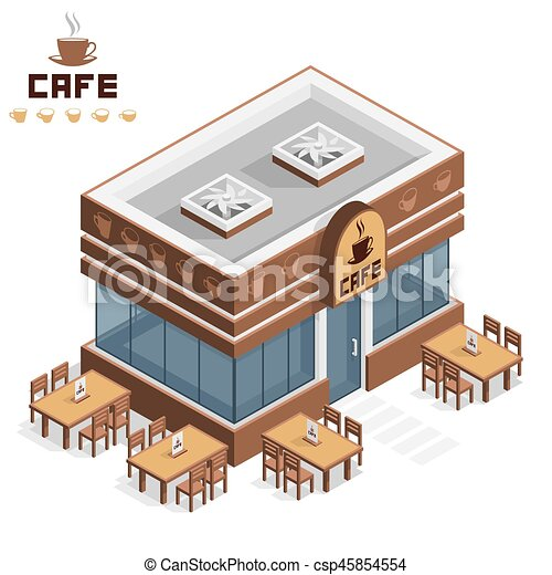 Cafe Building Vector Isometric Icon