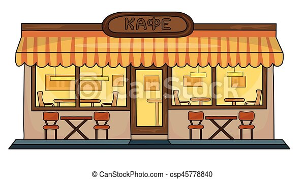 Cafe Building Of On A White Background