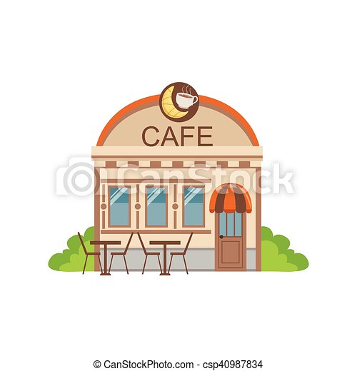 Cafe Commercial Building Facade Design Illustration Isolated On White Background