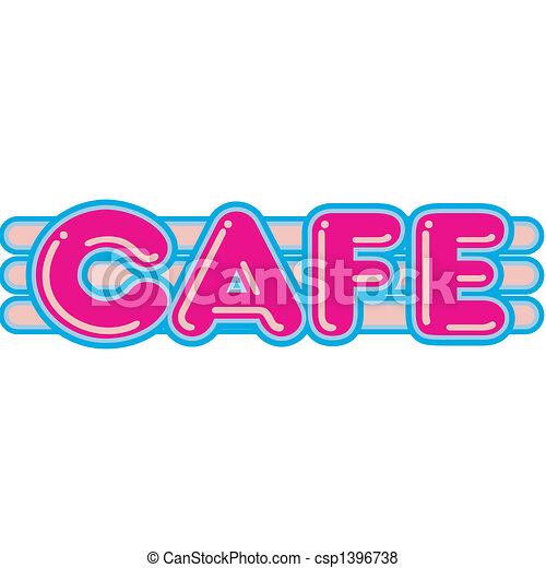 Cafe Diner Restaurant Sign 1950s - csp1396738